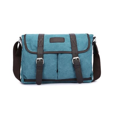 Canvas Messengerbag Masherbrum Blauw