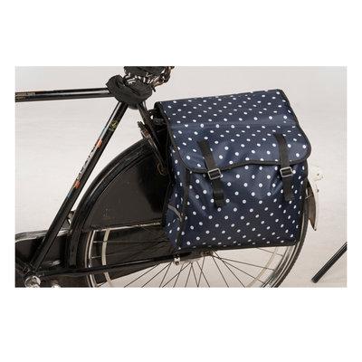 Bicycle Gear Dubbele Fietstas Blauw met Stippen