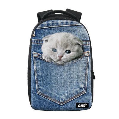 Rugzak One2 Jeans Grijze Kitten