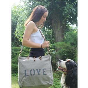 LIV Canvas Love Shopper Grijs